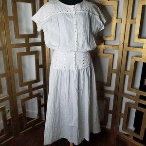 Vintage White Rainbow Menu Long Boho Corset Dress